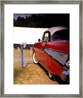 Red Chevy At The Drive-in Framed Print by Robert Ponzoni