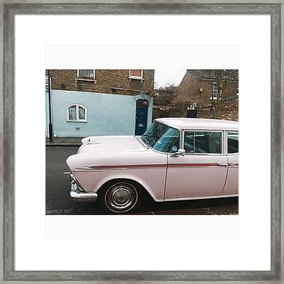 ' Retro Pastel Pink Vintage Car ' Framed Print