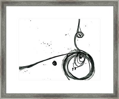 Revolving Life Collection - Modern Abstract Black Ink Artwork Framed Print