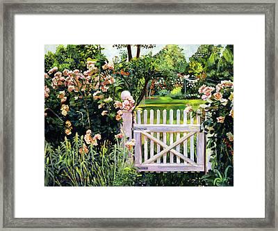 Roses At The Garden Gate Framed Print by David Lloyd Glover