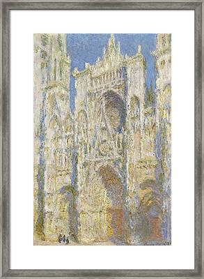 Rouen Cathedral West Facade Sunlight Framed Print by Claude Monet