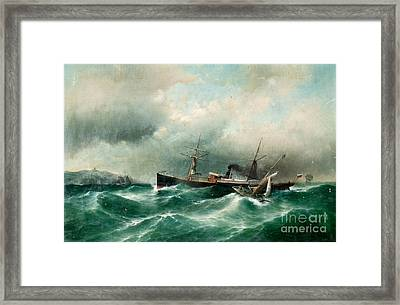 S S Capella On A Stormy Sea. Framed Print