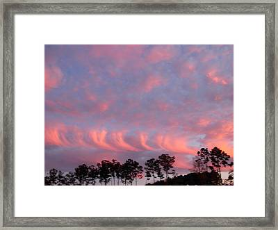 Framed Print featuring the photograph  Salmon Cloud Parade At Sunset by Jeanne Kay Juhos