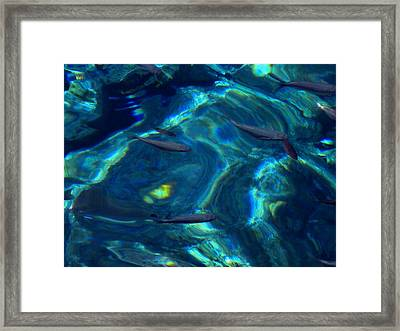 Framed Print featuring the photograph  Santorini  Ocean Water Reflections Greece by Colette V Hera  Guggenheim