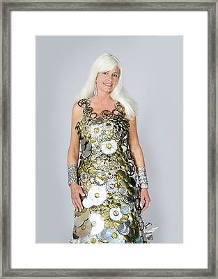 Sara In Clockwork Dragon Dress  Framed Print