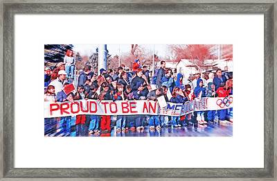 School Children Holding Sign - Olympic Torch Passing Framed Print by Steve Ohlsen