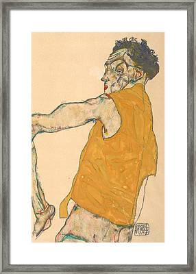 Self-portrait In Yellow Vest Framed Print