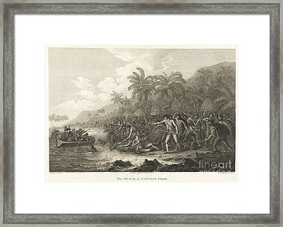 Set Of The Official Accounts Of His Three Pacific Voyages Framed Print