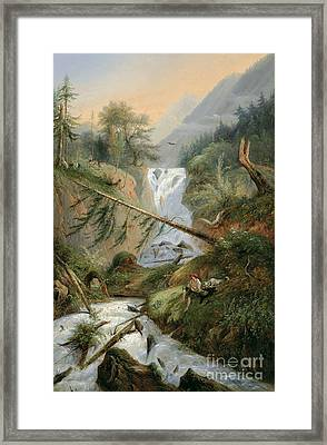Shepherd Resting By The Waterfall Framed Print