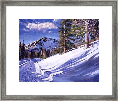 Snowy Mountain Road Framed Print by David Lloyd Glover