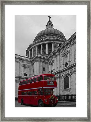 St Pauls Cathedral Red Bus Framed Print by David French
