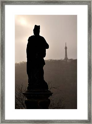 Statue And Petrin Tower Framed Print