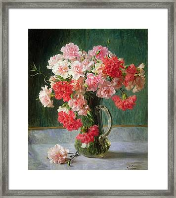 Still Life Of Carnations   Framed Print by Emile Vernon