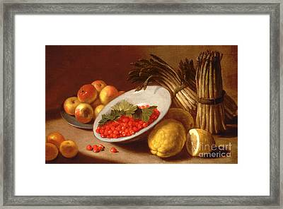 Still Life Of Raspberries Lemons And Asparagus  Framed Print