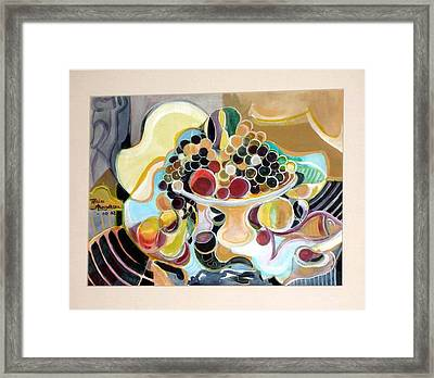 Still Life With Fish And Fresh  Fruits Framed Print by Therese AbouNader