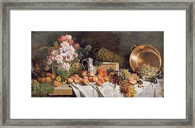 Still Life With Flowers And Fruit On A Table Framed Print