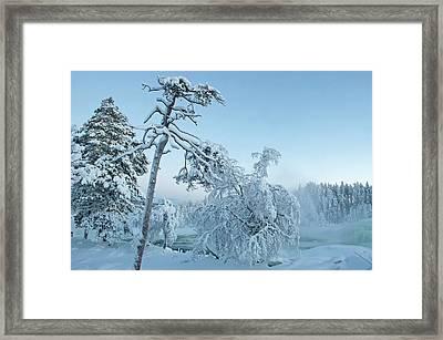 Magic Blue  Storforsen Waterfall  Framed Print
