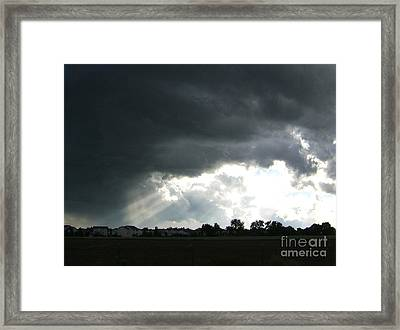 Storm Cloud  Over Westminster Framed Print by Nancy Rucker