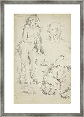 Studies Of Three Figures Including A Self-portrait  Framed Print by Paul Cezanne
