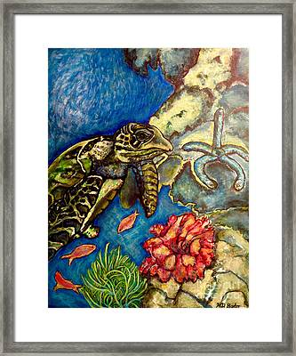 Sweet Mystery Of The Sea A Hawksbill Sea Turtle Coasting In The Coral Reefs Original Framed Print