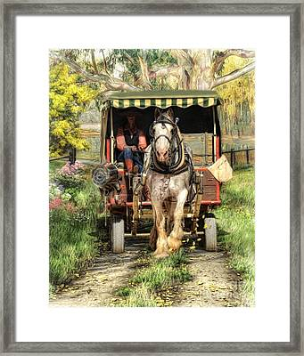 Framed Print featuring the digital art  Take Me Home Country Road by Trudi Simmonds