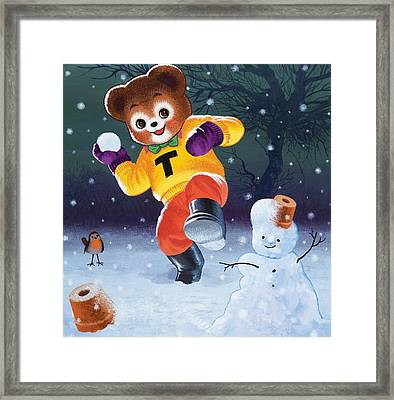 Teddy Bear Throwing Snowballs Framed Print by William Francis Phillipps