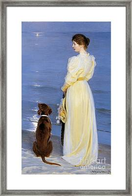 The Artist's Wife And Dog By The Shore Framed Print by Celestial Images
