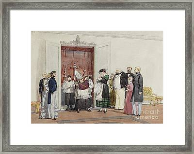 The Christening Of The Duc De Montebello's Son Framed Print