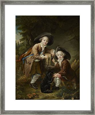 The Comte And Chevalier De Choiseul As Savoyards Framed Print by Francois Hubert Drouais