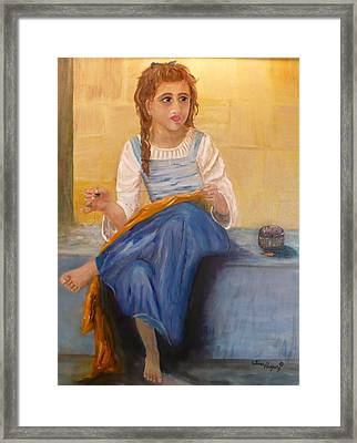 The Girl That Loves To Sew  Framed Print by Tina Haeger