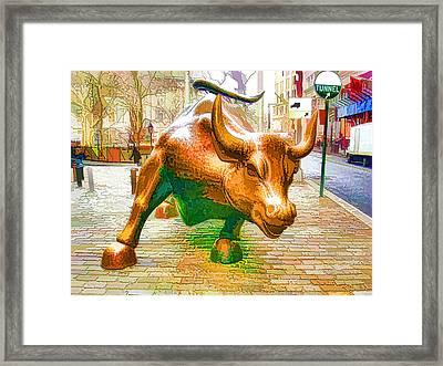 The Landmark Charging Bull In Lower Manhattan  Framed Print