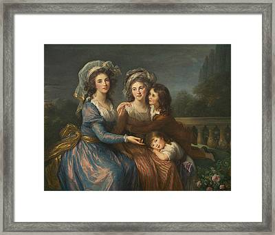 The Marquise De Pezay, And The Marquise De Rouge With Her Sons Framed Print