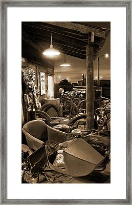 The Motorcycle Shop Framed Print