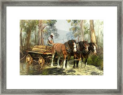 Framed Print featuring the digital art  The Timber Team by Trudi Simmonds