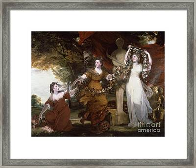 Three Ladies Adorning A Term Of Hymen Framed Print by MotionAge Designs