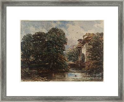 Title Stream And Water Mill Framed Print