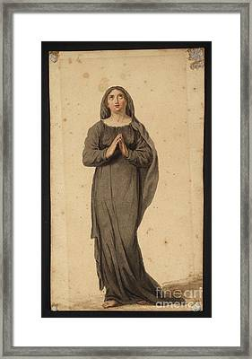 Title Woman Praying Framed Print by MotionAge Designs