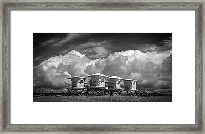Towers Waiting For Summer  Black And White Framed Print