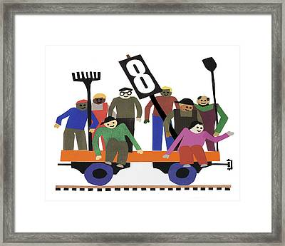 Train Car With Workers Framed Print by Ed Brodsky