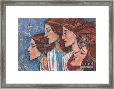 Tribute To Art Nouveau, Pastel Painting, Fine Art, Redhaired Girls Framed Print by Julia Khoroshikh