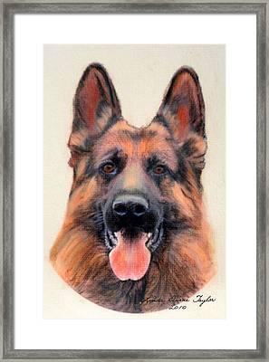Tribute To The German Shepherd Framed Print by Linda Diane Taylor