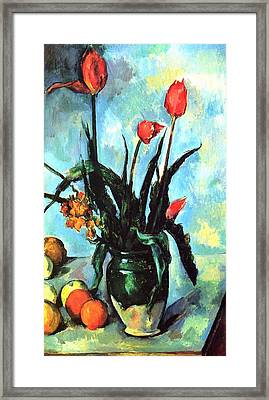 Tulips In A Vase Framed Print