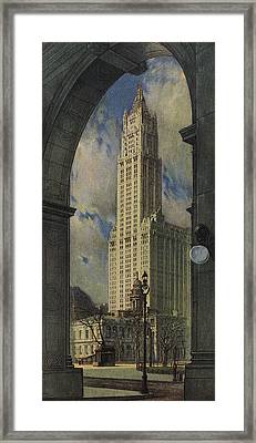 View Of The Woolworth Building Framed Print by American School