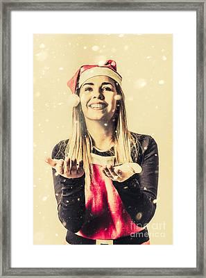 Vintage Girl Celebrating A White Christmas Framed Print