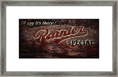 Vintage Rainier Sign Framed Print by DMSprouse Art