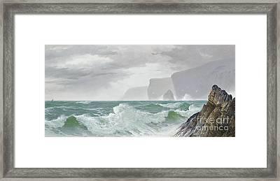 Waves Crashing Onto The Cornish Coast Framed Print by Celestial Images