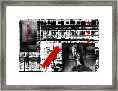 Where In The Riddle The Answer Hides And Red Framed Print by Danica Radman