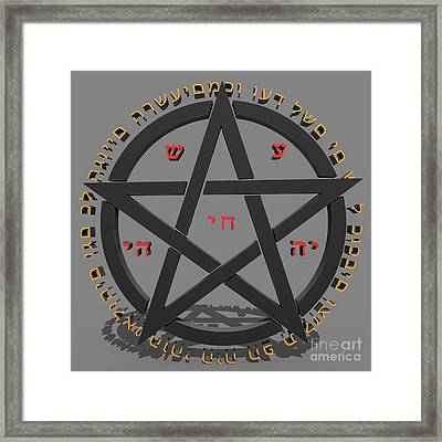 Witchcraft Concept With Hebrew Text  Framed Print by Ilan Rosen