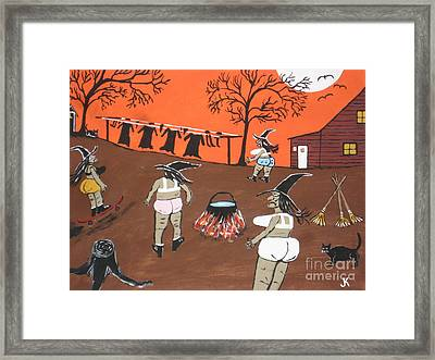 Witches Wash Day Framed Print