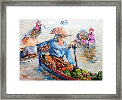 Women On Jukung Framed Print
